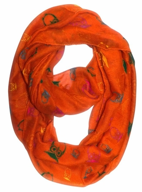 Stunning Colorful Lightweight Vintage Owl Print Infinity Loop Scarf (Orange)