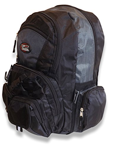 Stylish and Roomy Multi-Purpose Back to School Hiking Extra Storage Mesh Backpack - Urban Gear (Black/Charcoal)