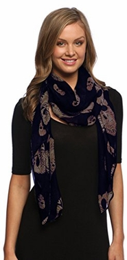 Stylish Chiffon Feel Aztec Skull Scarf Wrap Shawl with Slim Silk Feel Black Border (Navy)