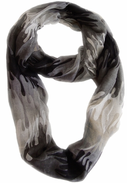 Stylish & Trendy Abstract Multicolored Paint Design Infinity Loop Scarf  (Black)