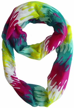 Stylish & Trendy Abstract Multicolored Paint Design Infinity Loop Scarf (Fuchsia/Yellow)
