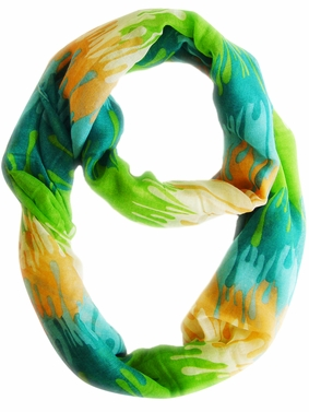Stylish & Trendy Abstract Multicolored Paint Design Infinity Loop Scarf (Green)