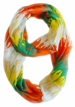 Stylish & Trendy Abstract Multicolored Paint Design Infinity Loop Scarf (Orange)