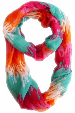 Stylish & Trendy Abstract Multicolored Paint Design Infinity Loop Scarf (Pink/Orange)
