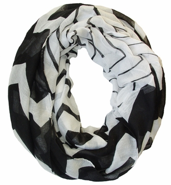 Stylish & Trendy Lightweight Black Two-toned Wide Chevron Design Infinity Loop