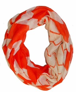 Stylish & Trendy Lightweight Coral Two-toned Wide Chevron Design Infinity Loop