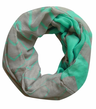 Stylish & Trendy Lightweight Two-toned Wide Chevron Design Infinity Loop Scarf (Mint/Grey)