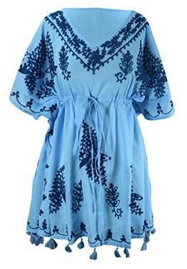 Summer Womens Boho Cotton Floral Cover-up Kaftan Beachwear Tunic Blue Navy