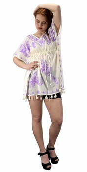 Summer Womens Boho Cotton Floral Cover-up Kaftan Beachwear Tunic Cream Violet
