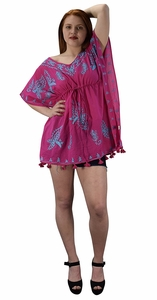 Summer Womens Boho Cotton Floral Cover-up Kaftan Beachwear Tunic Fuchsia Blue