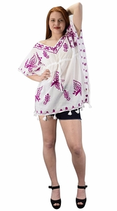 Summer Womens Boho Cotton Floral Cover-up Kaftan Beachwear Tunic White Purple