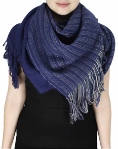 Super Large Warm Woven Blanket Scarf Shawl Poncho (Violet)