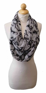 Super Soft Black & White Paisley Print Loop Scarf