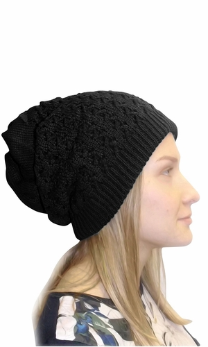 Super Thick Boho Knit Extra Slouchy Oversize Beanie Cap Hat (Black)