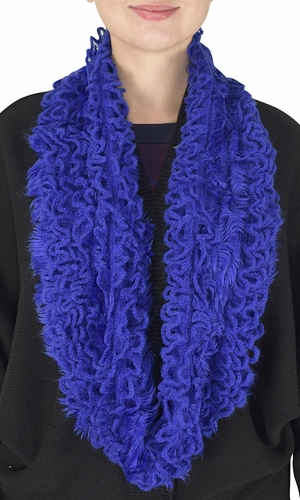 Super Warm Ultra Thick Plush Stretchy Ruffled Infinity Loop Scarf (Royal Blue)