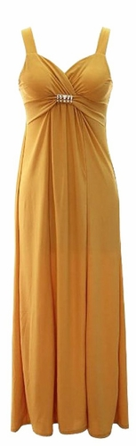 Sweetheart Exotic Bandeau Sleeveless Maxi Beach Evening Dressn (Gold)
