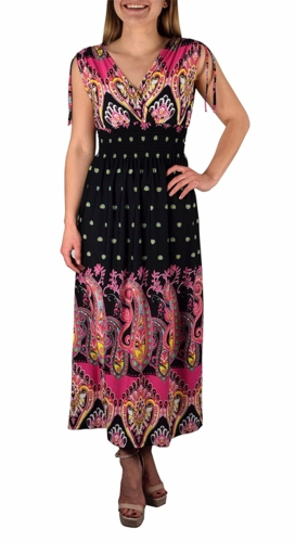 Exotic Tahiti Multicolor Border Print Maxi Dress (Paisley Black and Fuchsia)