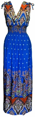 Exotic Tahiti Multicolor Border Print Maxi Dress (Paisley Orange and  Blue, S)