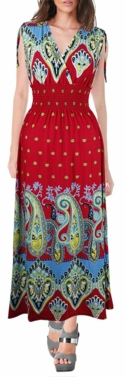 Exotic Tahiti Multicolor Border Print Maxi Dress (Paisley Red & Turquoise)