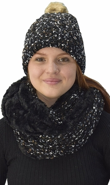 Thick Cable Knit Faux Fur Plush Double Layer Hat Infinity Scarf Set Black