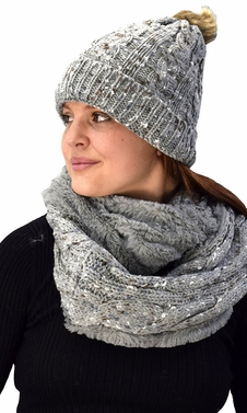 Thick Cable Knit Faux Fur Plush Double Layer Hat Infinity Scarf Set Grey