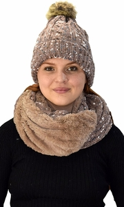 Thick Cable Knit Faux Fur Plush Double Layer Hat Infinity Scarf Set Taupe