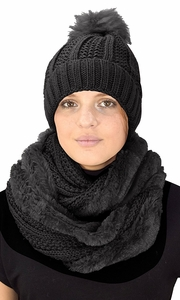 Thick Cable Knit Weave Beanie Hat Plush Infinity Loop Scarf 2 Pack Black 98