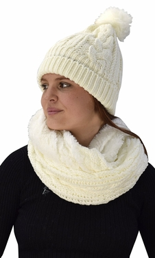 Thick Cable Knit Weave Beanie Hat Plush Infinity Loop Scarf 2 Pack Cream 97