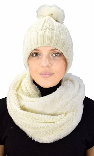 Thick Cable Knit Weave Beanie Hat Plush Infinity Loop Scarf 2 Pack Cream 98