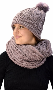 Thick Cable Knit Weave Beanie Hat Plush Infinity Loop Scarf 2 Pack Dust Pink 97