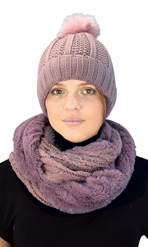 Thick Cable Knit Weave Beanie Hat Plush Infinity Loop Scarf 2 Pack Dust Pink 98