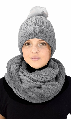 Thick Cable Knit Weave Beanie Hat Plush Infinity Loop Scarf 2 Pack Grey 98