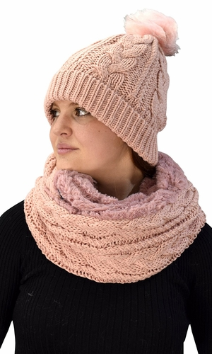 Thick Cable Knit Weave Beanie Hat Plush Infinity Loop Scarf 2 Pack Pink 97