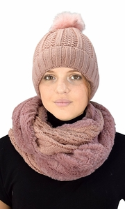 Thick Cable Knit Weave Beanie Hat Plush Infinity Loop Scarf 2 Pack Pink 98