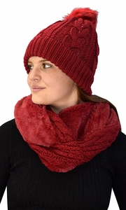 Thick Cable Knit Weave Beanie Hat Plush Infinity Loop Scarf 2 Pack Red 97