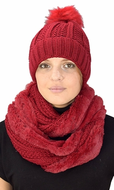 Thick Cable Knit Weave Beanie Hat Plush Infinity Loop Scarf 2 Pack Red 98