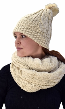 Thick Cable Knit Weave Beanie Hat Plush Infinity Loop Scarf 2 Pack Tan 97