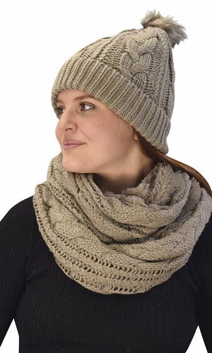 Thick Cable Knit Weave Beanie Hat Plush Infinity Loop Scarf 2 Pack Taupe 97