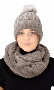 Thick Cable Knit Weave Beanie Hat Plush Infinity Loop Scarf 2 Pack Taupe 98