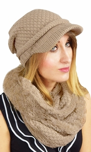 Thick Crochet Plush Visor Beanie Hat Infinity Loop Scarf 2 Pack (One Size, Tan)
