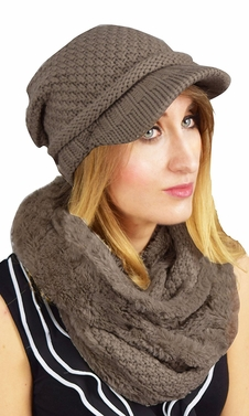 Thick Crochet Plush Visor Beanie Hat Infinity Loop Scarf 2 Pack (Taupe)