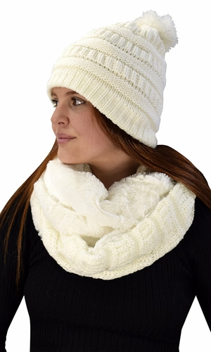 Thick Crochet Weave Beanie Hat Plush Infinity Loop Scarf 2 Pack Cream 99
