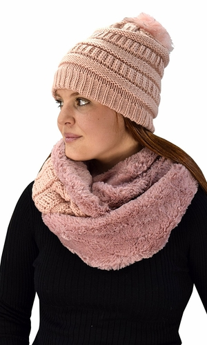 Thick Crochet Weave Beanie Hat Plush Infinity Loop Scarf 2 Pack Pink 99