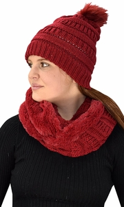 Thick Crochet Weave Beanie Hat Plush Infinity Loop Scarf 2 Pack Red 99
