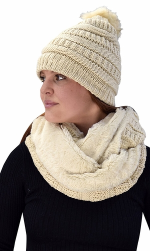 Thick Crochet Weave Beanie Hat Plush Infinity Loop Scarf 2 Pack Tan 99