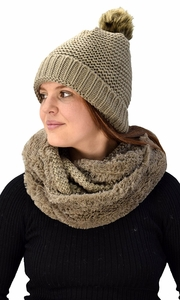 Thick Crochet Weave Beanie Hat Plush Infinity Loop Scarf 2 Pack Taupe 90