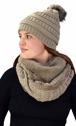 Thick Crochet Weave Beanie Hat Plush Infinity Loop Scarf 2 Pack Taupe 99