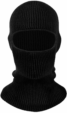 Thick Knit One Hole Facemask Balaclava Snowboarding Biker Mask (Ebony)