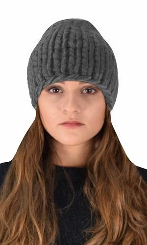 Thick Warm Soft Cable Knit Hat Beanie Slouchy Double Braid Stich Charcoal