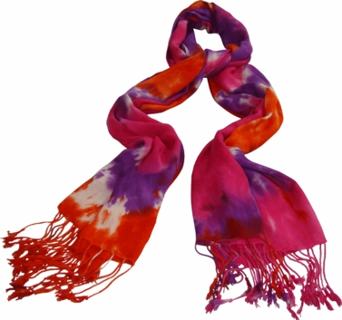 Soft and Silky Vibrant Colored Tie Dye Pashmina Shawl